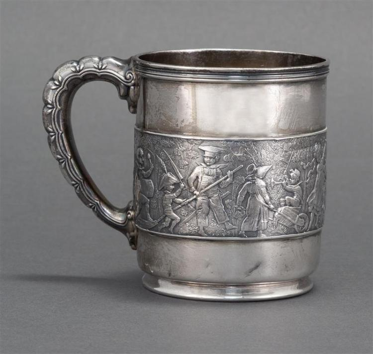 TIFFANY & CO. STERLING SILVER CHILD''S CUP Central reserve depicts children parading through a forest. Lobed handle. Not monogrammed...