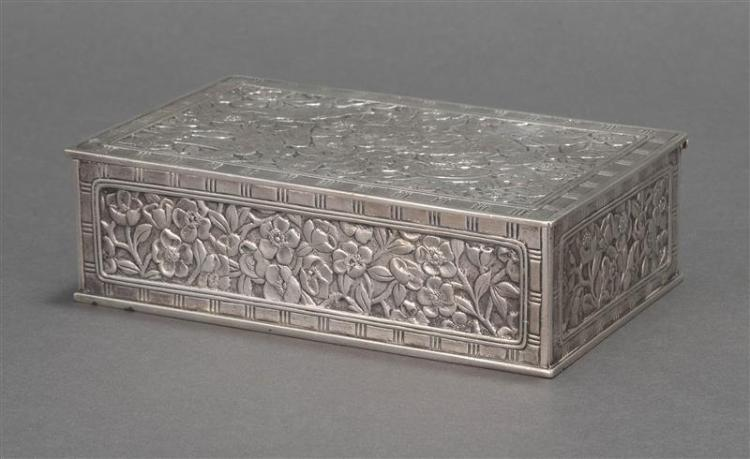 TIFFANY & CO. CAST STERLING SILVER CIGAR BOX Hinged cover decorated with four birds amongst dense prunus branches. Banded border. Pr...