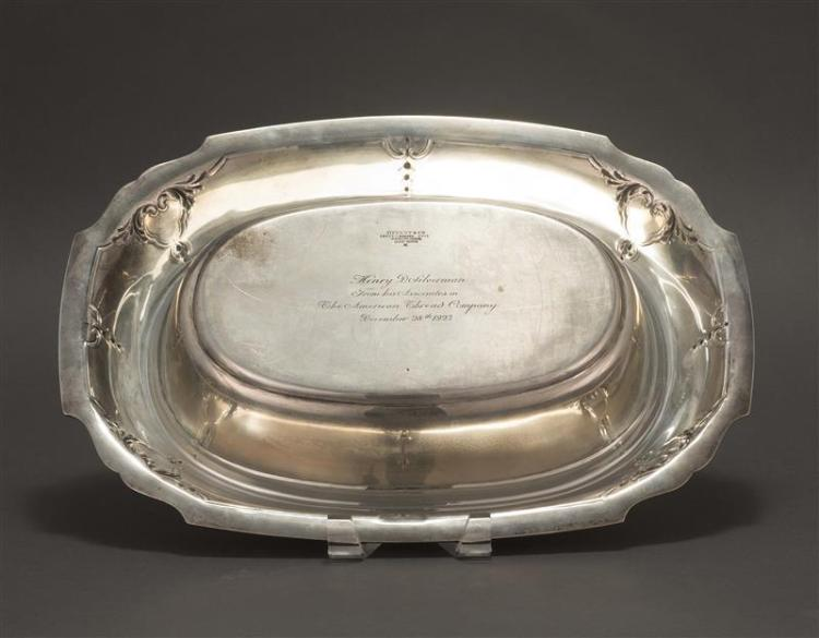 TIFFANY & CO. STERLING SILVER CENTERPIECE Ovoid body chased with incremental bell flowers and acanthus leaves. Shaped and die-cast r...