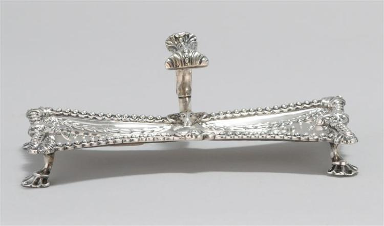 GEORGE III STERLING SILVER SNUFFER TRAY Henry Hallsworth, maker. Scrolled foliate thumbpiece. Waisted rectangular tray decorated wit...