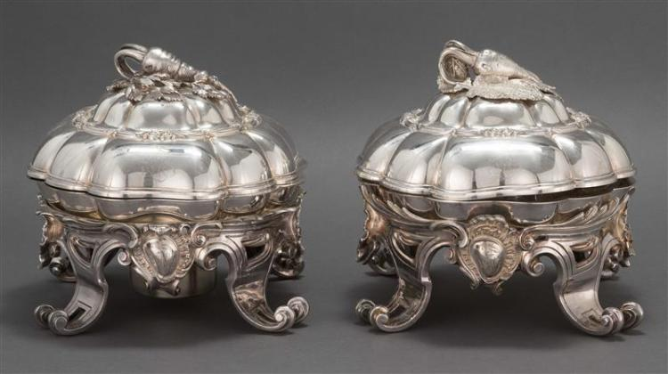 PAIR OF MAISON ODIOT .950 SILVER COVERED TUREENS ON SILVER PLATED STANDS The tureens and covers Maison Odiot, Paris, c. 1860. Domed...