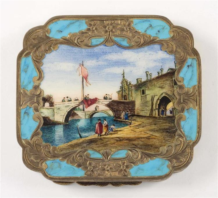 TWO ITALIAN .800 SILVER GILT AND ENAMEL COMPACTS One depicts picnickers in 18th Century dress. The other depicts a Venetian canal sc...