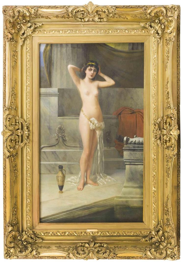 """VINCENT G. STIEPEVICH, Russian/American, 1841-1910, Bath scene with semi-nude woman., Oil on canvas, 30"""" x 18"""". Framed 42"""" x 30""""."""
