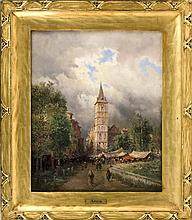 """ATTRIBUTED TO EUGENIO AMUS, Continental, 1834-1899, City market scene., Oil on board, 20"""" x 16"""". Framed 27"""" x 23""""."""