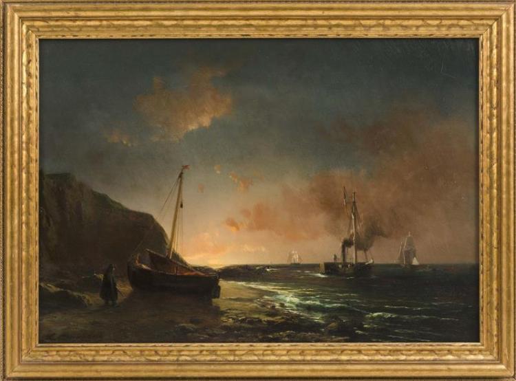 "LOUIS BENTABOLE, French, 1820-1880, Luminous coastal scene, Oil on panel, 12.25"" x 18.25"". Framed 15"" x 24""."