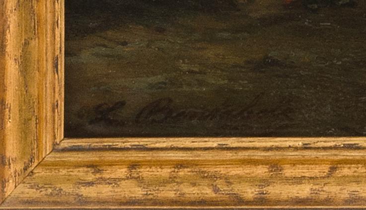 LOUIS BENTABOLE, French, 1820-1880, Luminous coastal scene, Oil on panel, 12.25