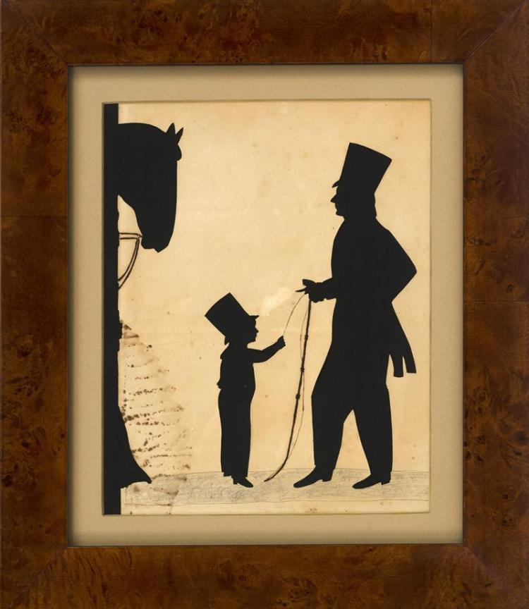 FRAMED SILHOUETTE Depicts a man and a boy, both wearing top hats, standing by a horse in a stable. 9.5