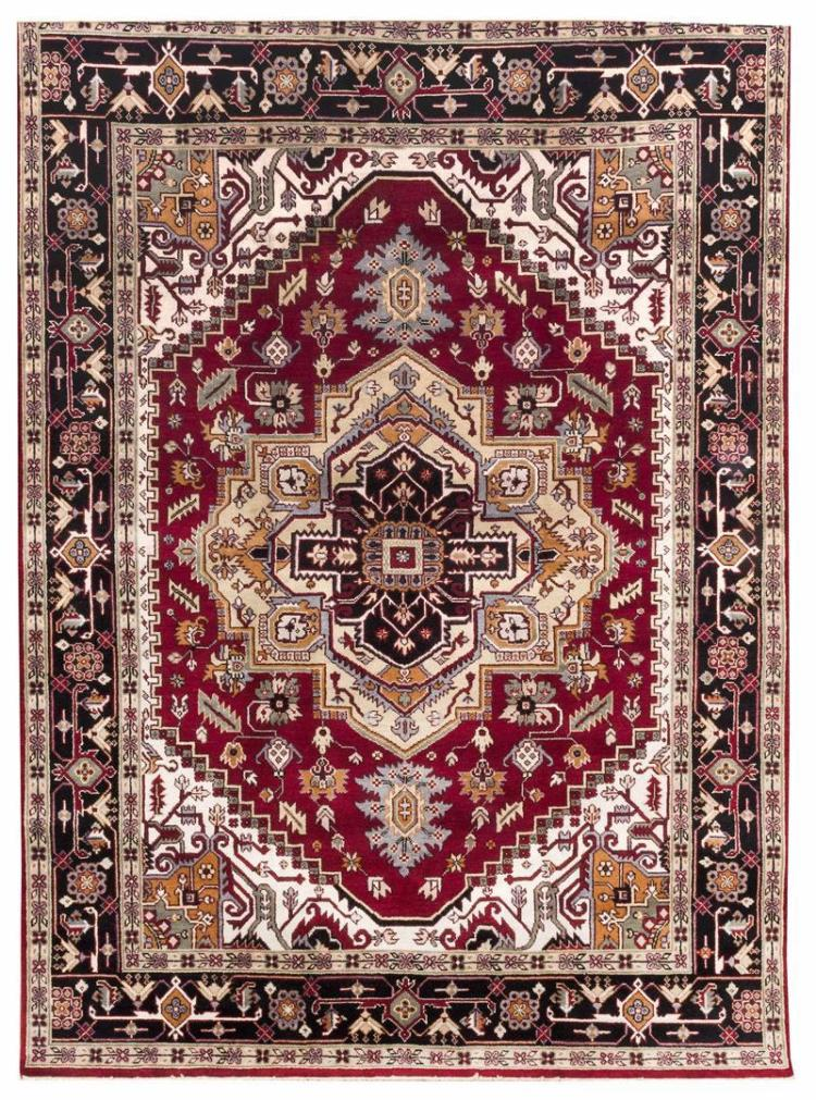 """ORIENTAL RUG: SERAPI DESIGN 8''9"""" x 11''10"""" Gabled medallion in pale yellow, peach and black rests at the center of a dark red field o."""