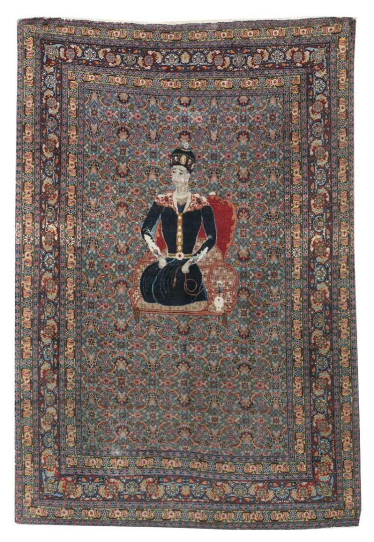 "ORIENTAL RUG: TABRIZ PICTORIAL 4''8"" x 6''6"" Portrait of a king seated on a red and gold throne and wearing a crown and a blue robe wi."