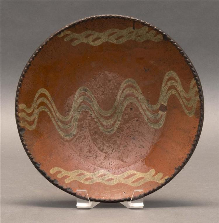 """REDWARE PLATE WITH SLIP DECORATION Diameter 10""""."""