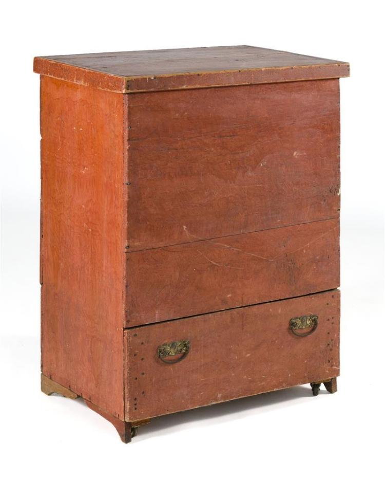 """ANTIQUE AMERICAN BLANKET CHEST In pine with red grain-painted finish. Single drawer with brass bail handles. Height 36.5"""". Width 29""""..."""