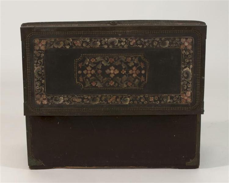 DECORATED LEATHER-COVERED CAMPHORWOOD CHEST With flower and vine design. Brass mounts. Height 16