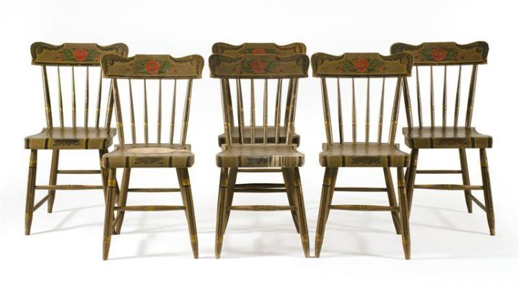 ANTIQUE AMERICAN PENNSYLVANIA BENCH Together with a set of six plank-seat side chairs. Chairs and bench all with matching painted de...