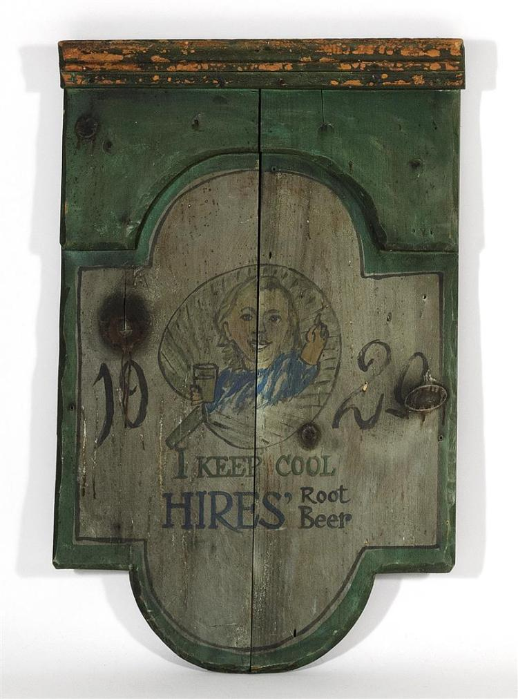 "PAINTED WOODEN SIGN FOR HIRES'' ROOT BEER Depicts a child holding a glass of root beer and ""1929 I Keep Cool Hires'' Root Beer"" in bla."