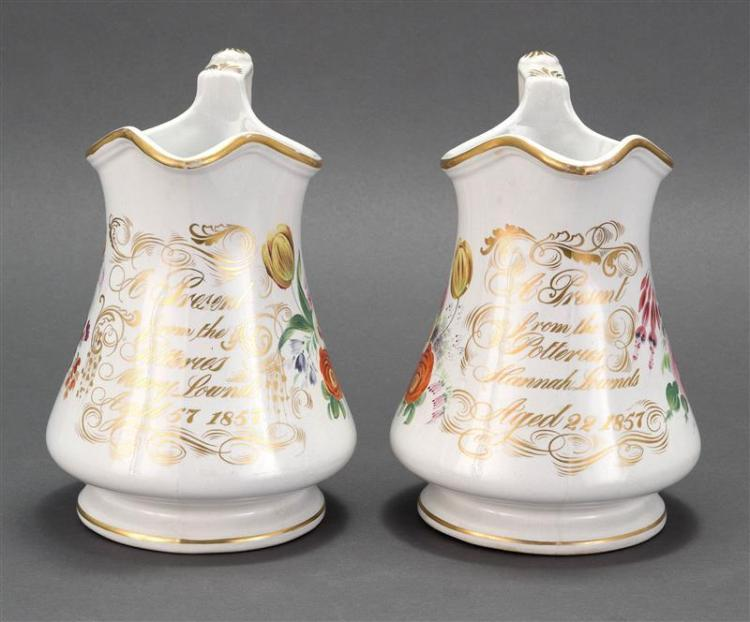 "PAIR OF PORCELAIN PITCHERS BY LOWNDS POTTERY Each with gold presentation inscription ""A Present from the Potteries ..."". One present..."