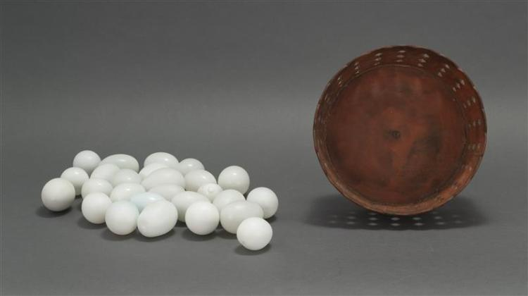 FOLK ART WOODEN COMPOTE Contains 26 white eggs, mostly blown glass. Compote under an old red stain. Bowl with petal rim, openwork si...