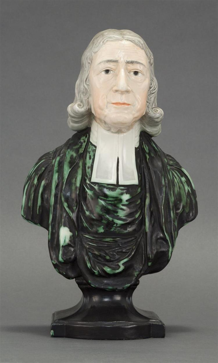 STAFFORDSHIRE BUST OF JOHN WESLEY MODELED BY ENOCH WOOD Polychrome glaze with naturalistic face and wig, mottled green and black rob...