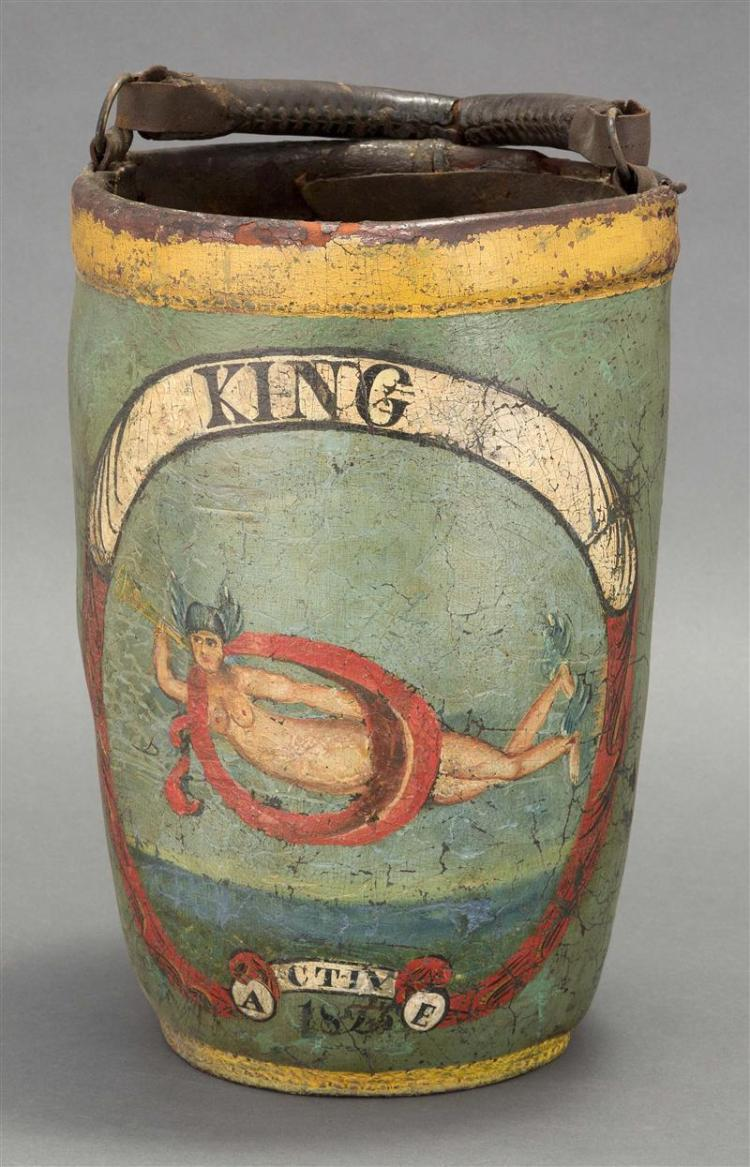 """PAINTED LEATHER FIRE BUCKET Decorated with """"King"""" above a mythological nude female above """"A CTIV E 1823"""". Original handle with old r..."""