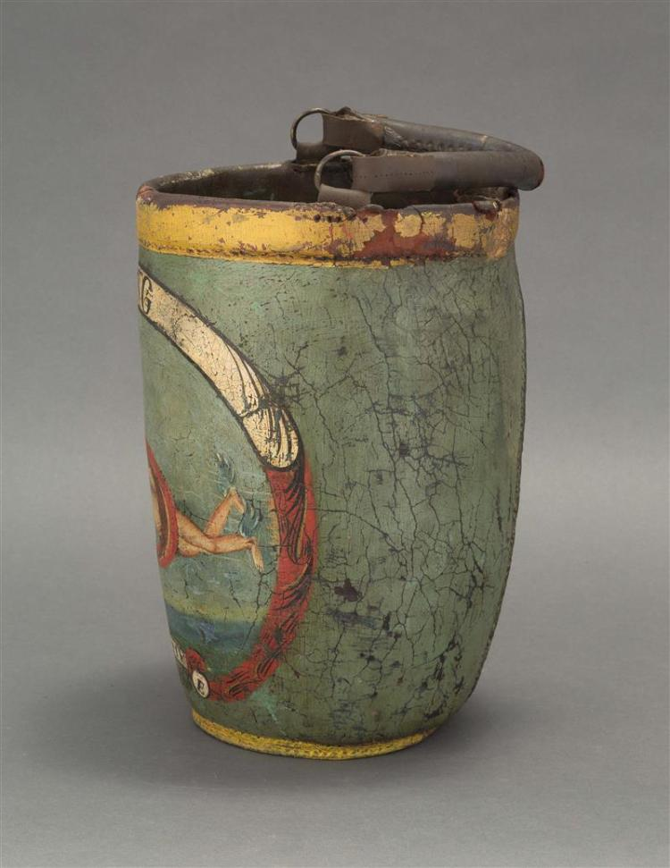 PAINTED LEATHER FIRE BUCKET Decorated with