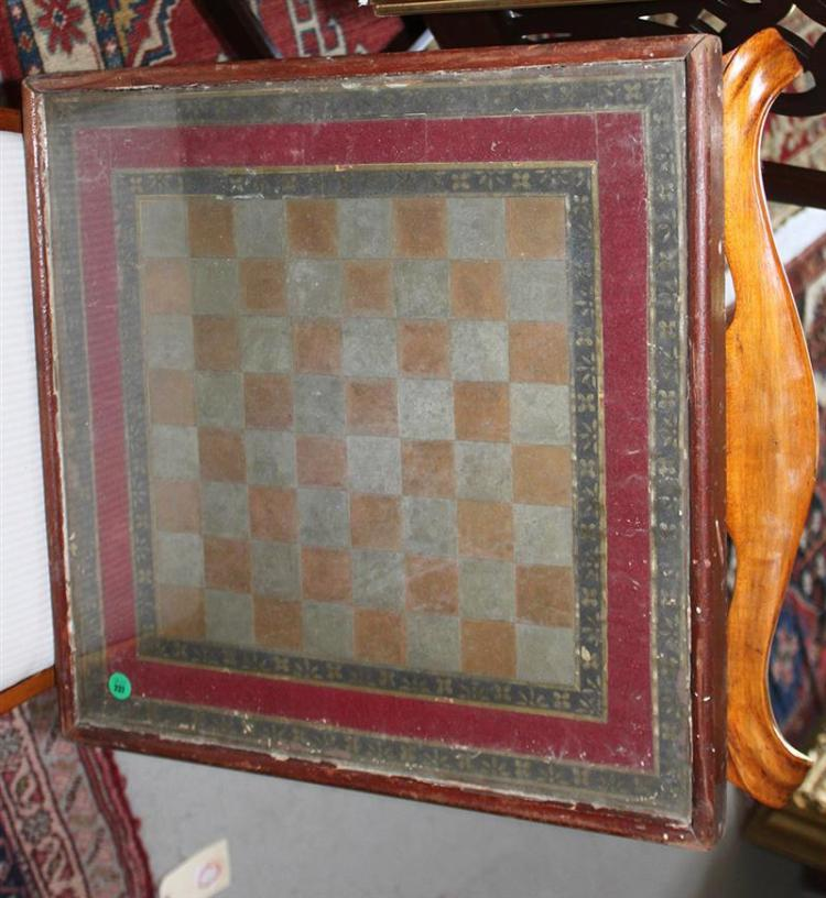UNUSUAL CHECKERBOARD Squares painted brown and silver. Two paper borders with black and gold painted floral decoration surround a re...
