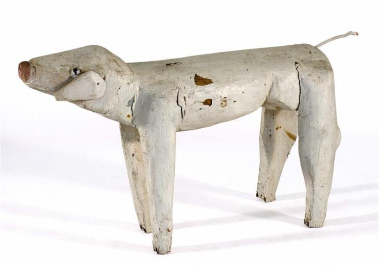 """FOLK ART CARVED WOODEN PIG Painted white. Height 28"""". Length 46.5"""". Width 12.5""""."""