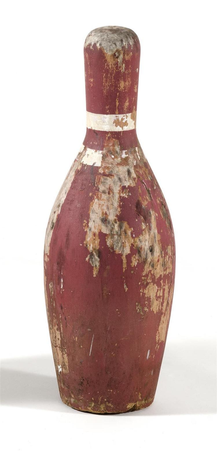 """OVERSIZE WOODEN BOWLING PIN Painted red with white stripes. Height 24.5""""."""