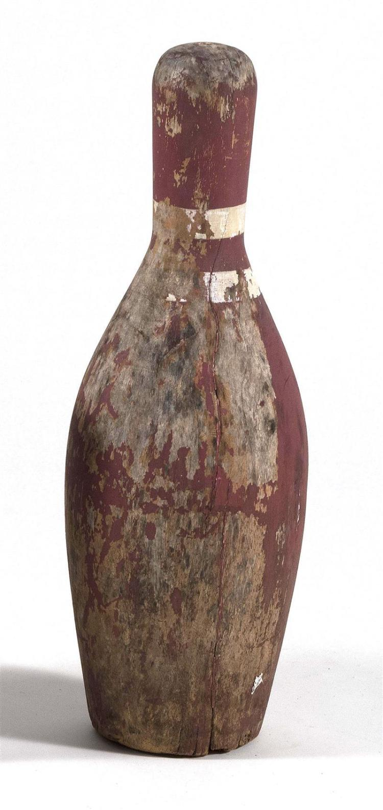 OVERSIZE WOODEN BOWLING PIN Painted red with white stripes. Height 24.5