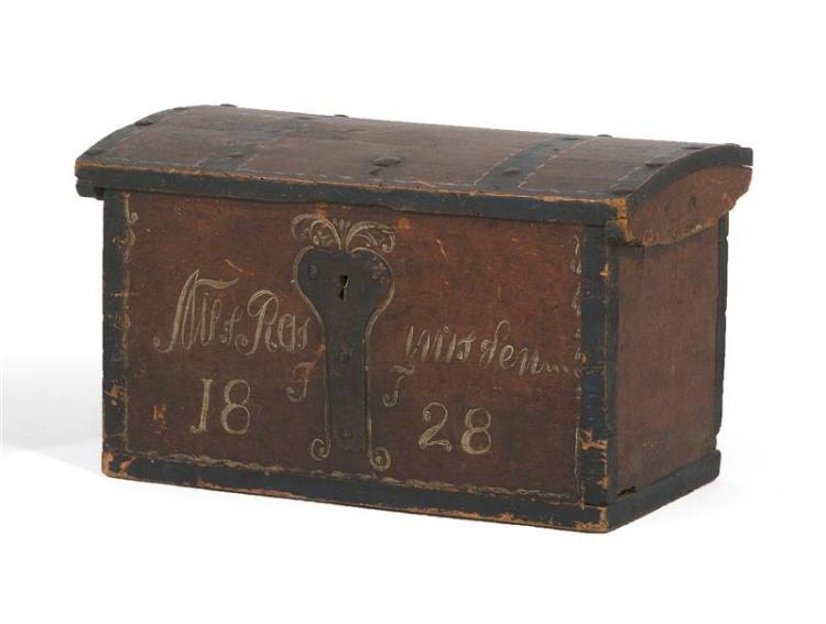 """DOME-TOP DOCUMENT BOX Dovetail construction. Painted red, green and white. A name and """"1828"""" painted on front. Height 10"""". Width 16...."""