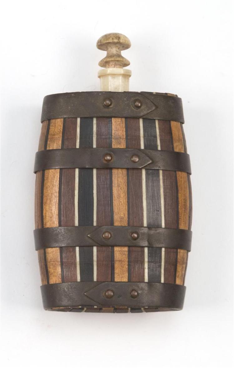 WHALEMAN-MADE FLASK In the form of a flattened barrel. Exotic wood staves with whalebone banding. Brass hoops attached to staves wit...