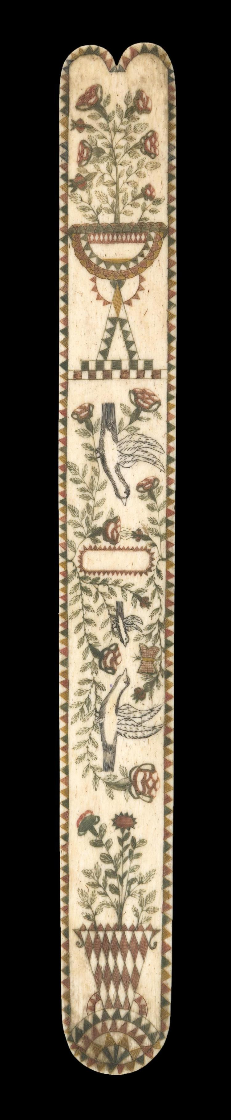 POLYCHROME SCRIMSHAW WHALEBONE BUSK Central design of three birds and a butterfly amongst foliage. Potted floral plant at each end....