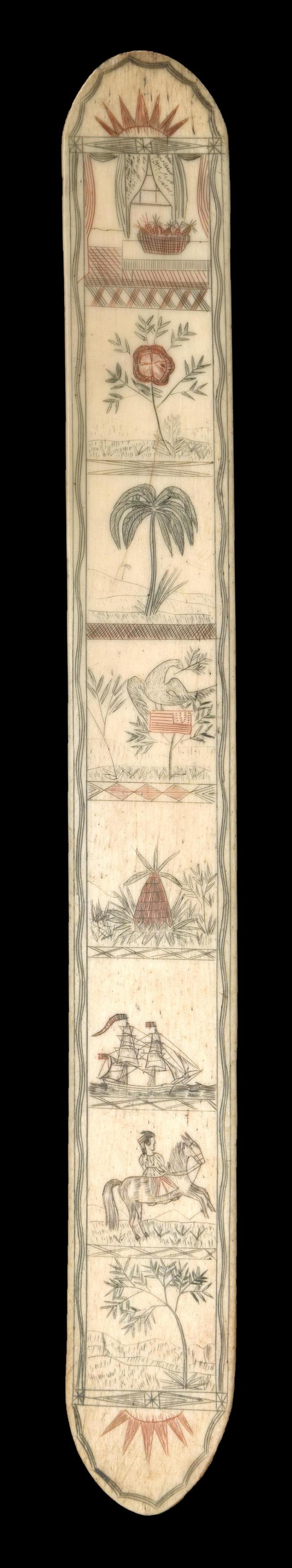 POLYCHROME SCRIMSHAW WHALEBONE BUSK Depicts a partial sunrise, an interior scene, a flower, a palm tree, an eagle atop an American f...