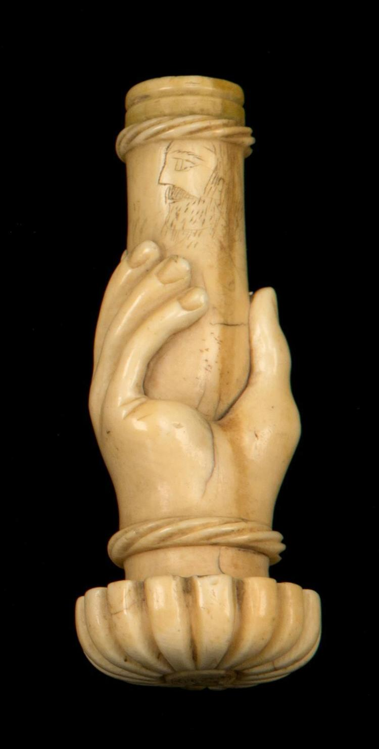 CARVED ELEPHANT IVORY CANE HANDLE Handle in the form of flowerhead and collar in the form of a hand grasping the cane shaft. Rope tu...