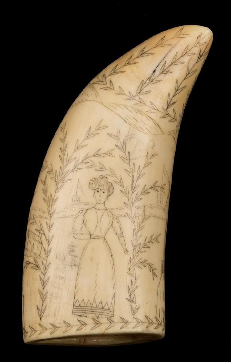 WONDERFUL PRIMITIVE SCRIMSHAW WHALE''S TOOTH Obverse depicts a young woman wearing period dress standing beneath a foliate arch. Reve..