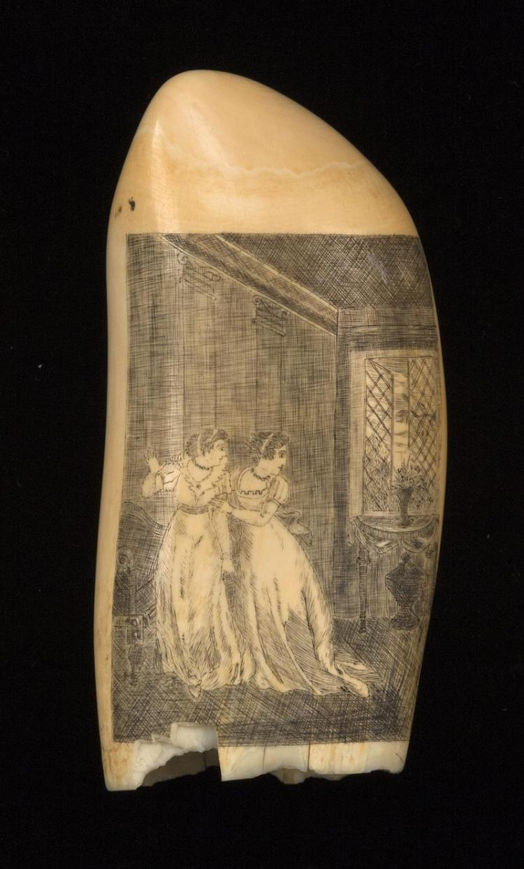 SCRIMSHAW WHALE''S TOOTH Highly detailed decoration of a landscape and a man wearing a top hat assisting a woman over a fence. Landsc..