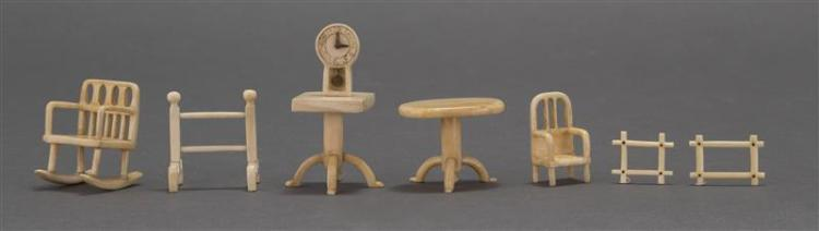 EIGHT CARVED WHALEBONE AND WHALE IVORY DOLLHOUSE ITEMS Includes two candlestands, a rocking chair, a side chair, a towel rack, two p...