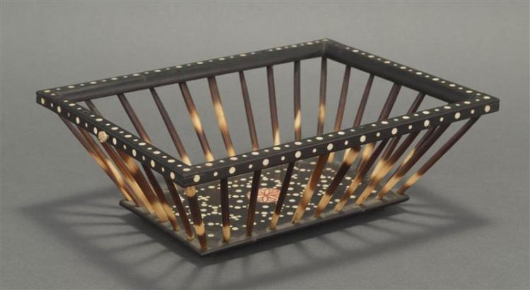 INDO-PERSIAN WOOD AND QUILL BASKET Bone inlay on wooden upper edge and base. Once had a handle. Height 3.5