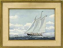 "JOHN F. LEAVITT, Massachusetts/Connecticut, 1905-1974, Pleasure sailboat on a breezy day., Watercolor, 14.5"" x 21.5"" sight. Framed 2..."