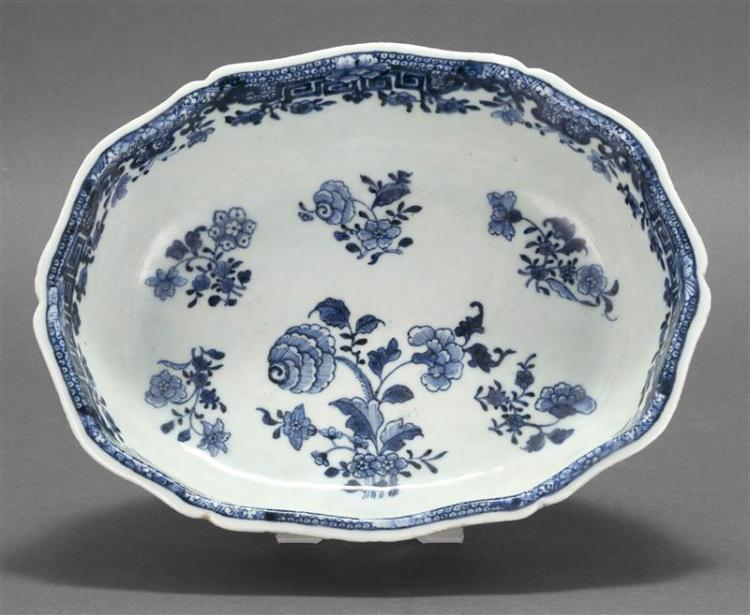 CHINESE EXPORT BLUE AND WHITE PORCELAIN OPEN VEGETABLE DISH In oval form. Decorated with floral sprays on the interior. Fitzhugh bor...
