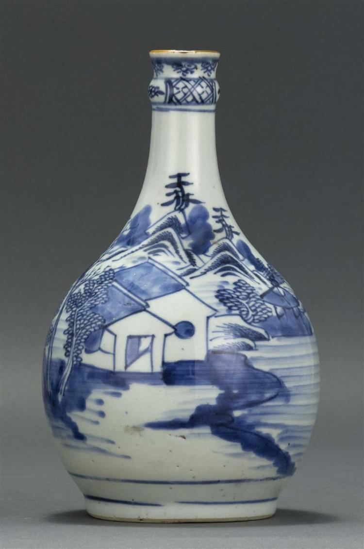 "CANTON PORCELAIN BOTTLE VASE With blue and white decoration and gilt mouth. Molded neck. Height 9"" (22.86 cm). Provenance: Private C..."