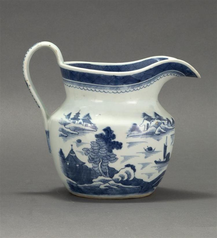 """CANTON PORCELAIN WATER PITCHER In squat waisted form with blue and white decoration. Height 7"""". Provenance: Private Collection, Cape..."""