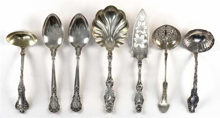 "SEVEN PIECES OF AMERICAN STERLING SILVER FLATWARE All with various monograms. 1-2) Whiting ""Lily"" casserole/berry spoon and bright-c..."