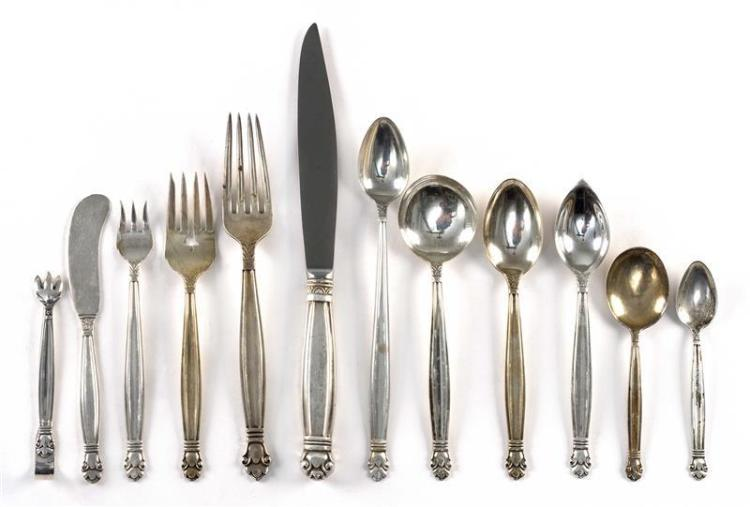 "MANCHESTER SILVER CO. ""COPENHAGEN"" PATTERN STERLING SILVER FLATWARE SERVICE Not monogrammed. Includes: 16 9.25"" knives15 7.5"" forks1..."