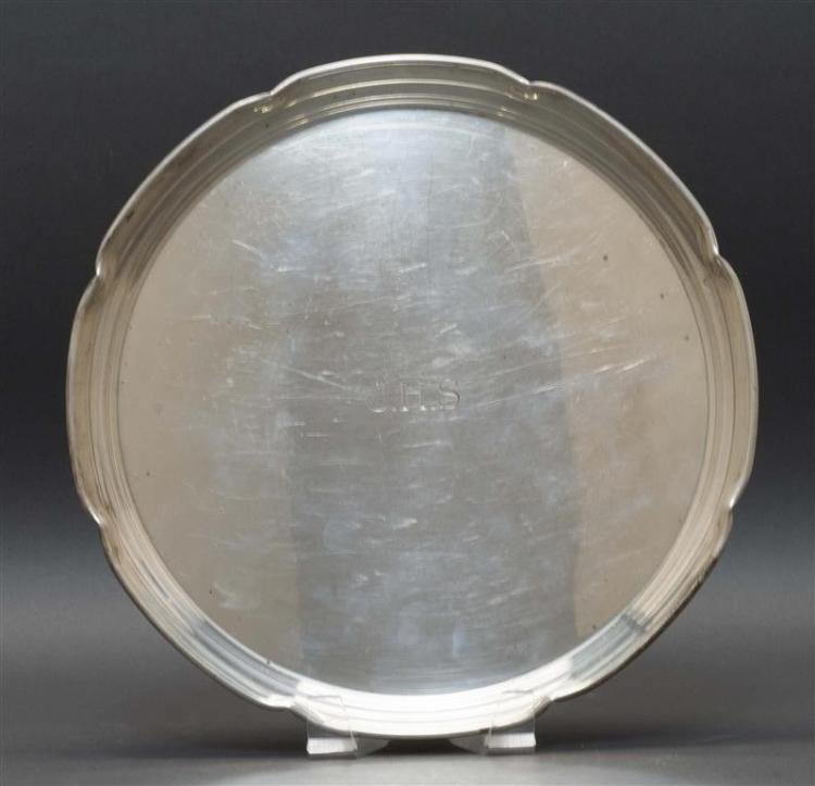 """CARTIER STERLING SILVER TRAY Pinched rim resembles flower petals. Monogrammed """"JHS"""". Diameter 11"""". Approx. 18.6 troy oz."""