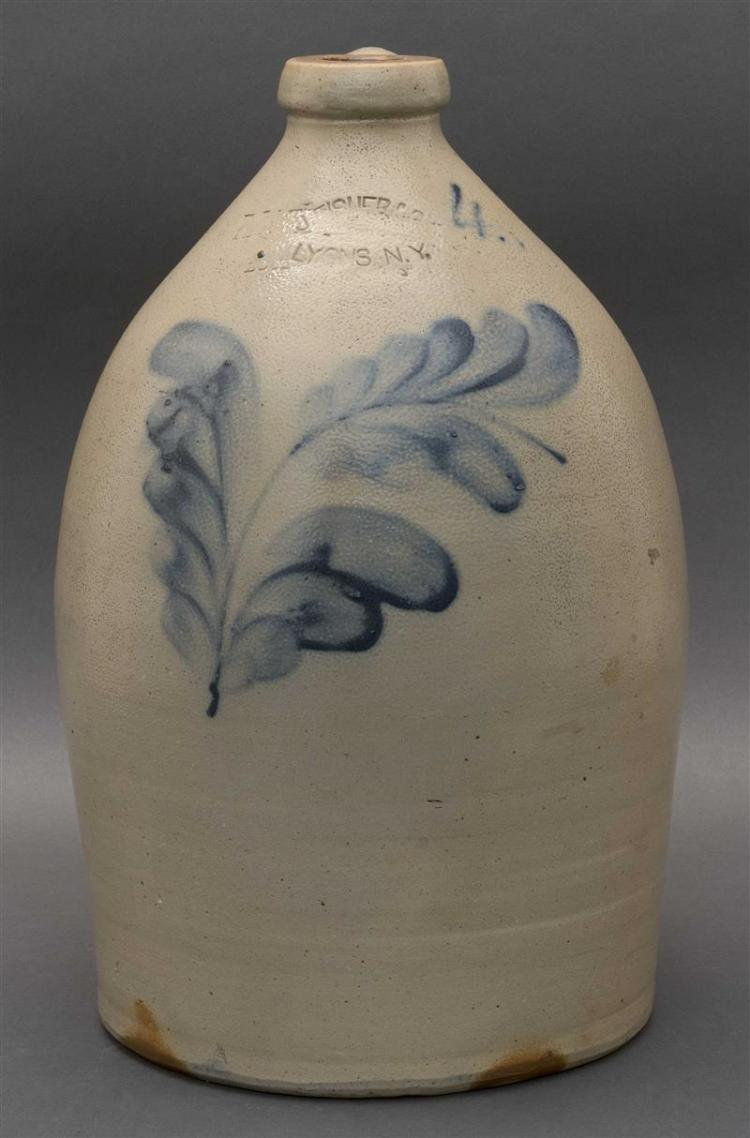 """FOUR-GALLON STONEWARE JUG With cobalt blue floral decoration. Stamped """"Fisher Co. Lyons N.Y."""". Some double stamping evident. Height..."""