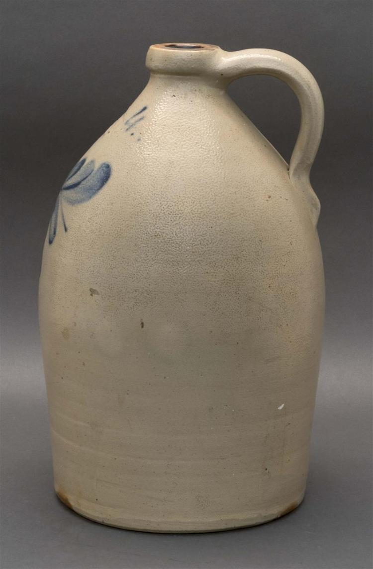 FOUR-GALLON STONEWARE JUG With cobalt blue floral decoration. Stamped