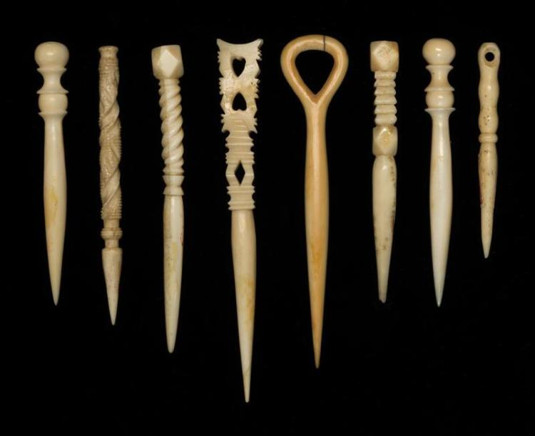 """EIGHT WHALEBONE AND WHALE IVORY BODKINS All with carved and turned terminals. Lengths from 2.5"""" to 4.25"""". From the Howland Scrimshaw..."""