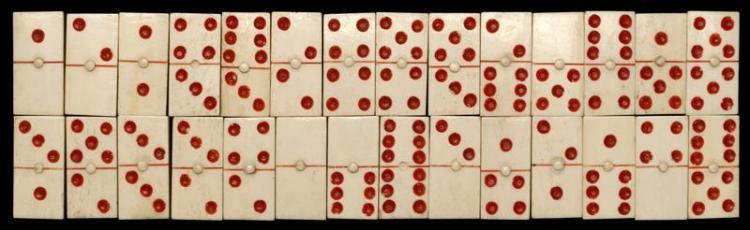 """TWENTY-EIGHT BONE DOMINOES WITH RED PIPS Dominoes approx. 1"""" x .5"""". From the Howland Scrimshaw Collection."""