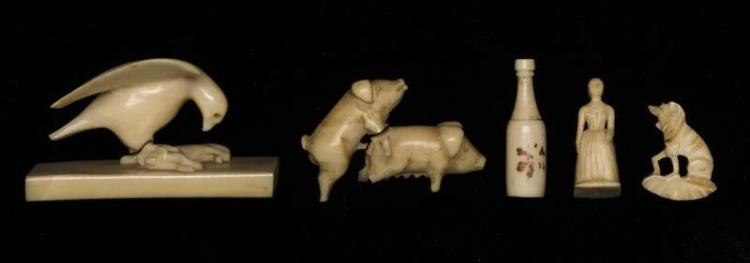 SIX CARVED WHALEBONE AND WHALE IVORY MINIATURE FIGURES An eagle with rabbit prey, a bottle, two pigs, a dog and a woman. Lengths fro...