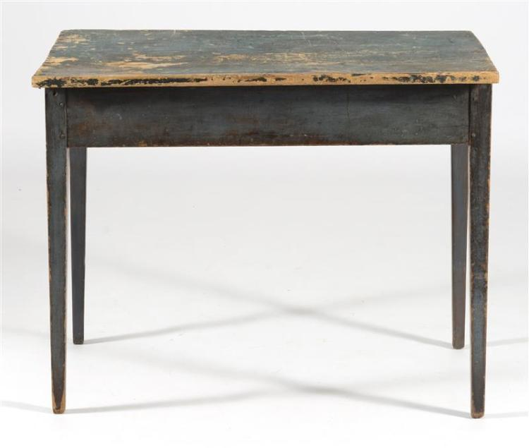 ANTIQUE AMERICAN HEPPLEWHITE WORK TABLE In pine under original blue paint. Square tapered legs. Height 27.75