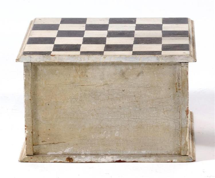 THREE-DRAWER SPOOL CABINET Painted black and white. Top with checkerboard design. Each drawer with two tin knobs. Height 11